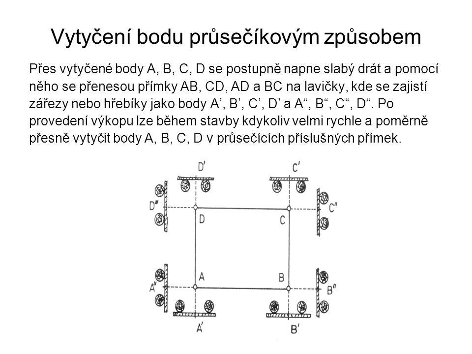 Vytyčení bodu průsečíkovým způsobem Přes vytyčené body A, B, C, D se postupně napne slabý drát a pomocí něho se přenesou přímky AB, CD, AD a BC na lav