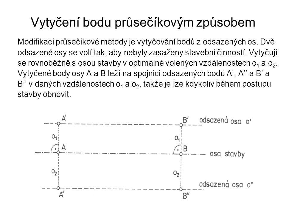 Vytyčení bodu průsečíkovým způsobem Modifikací průsečíkové metody je vytyčování bodů z odsazených os. Dvě odsazené osy se volí tak, aby nebyly zasažen