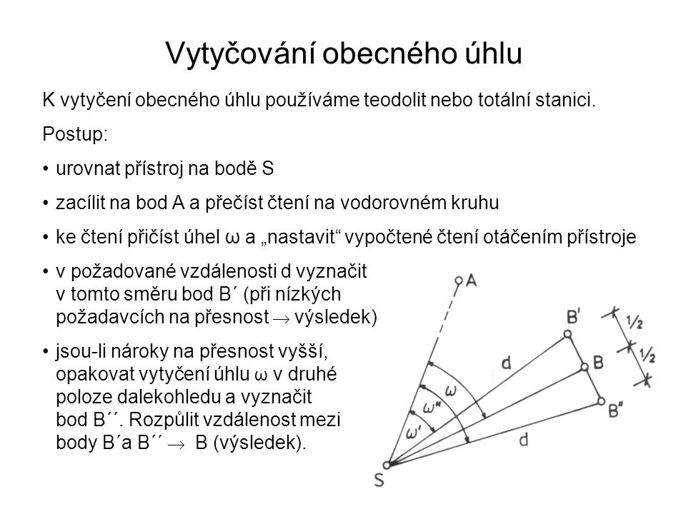 Vytyčování obecného úhlu K vytyčení obecného úhlu používáme teodolit nebo totální stanici. Postup: urovnat přístroj na bodě S zacílit na bod A a přečí