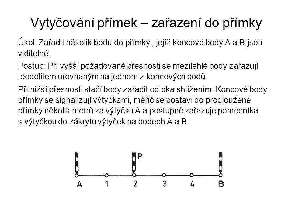 Vytyčování přímek – zařazení do přímky Úkol: Zařadit několik bodů do přímky, jejíž koncové body A a B jsou viditelné. Postup: Při vyšší požadované pře