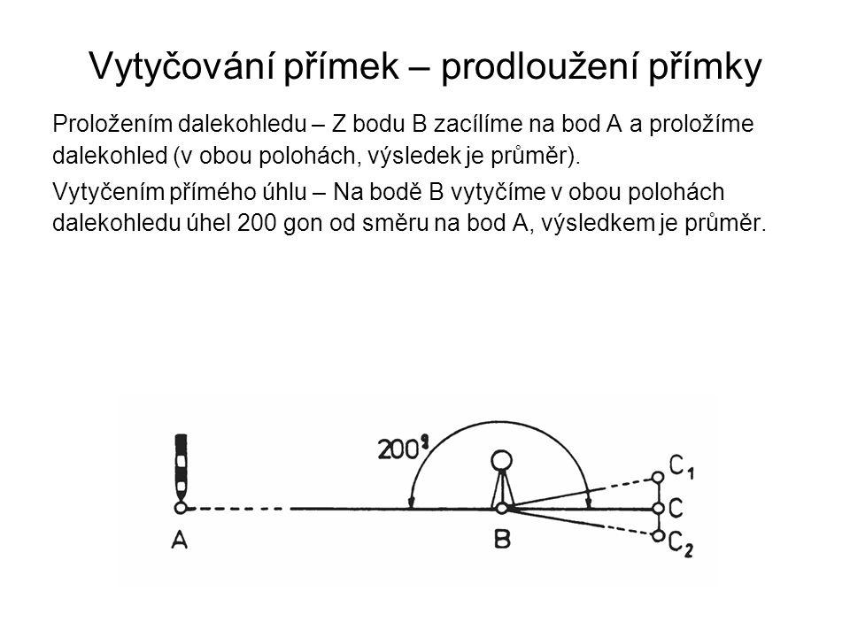 Vytyčování přímek – prodloužení přímky Proložením dalekohledu – Z bodu B zacílíme na bod A a proložíme dalekohled (v obou polohách, výsledek je průměr