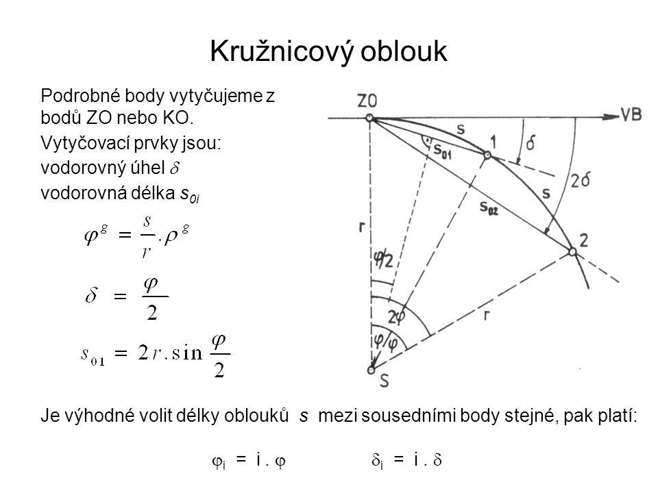 Kružnicový oblouk Podrobné body vytyčujeme z bodů ZO nebo KO. Vytyčovací prvky jsou: vodorovný úhel  vodorovná délka s 0i Je výhodné volit délky oblo