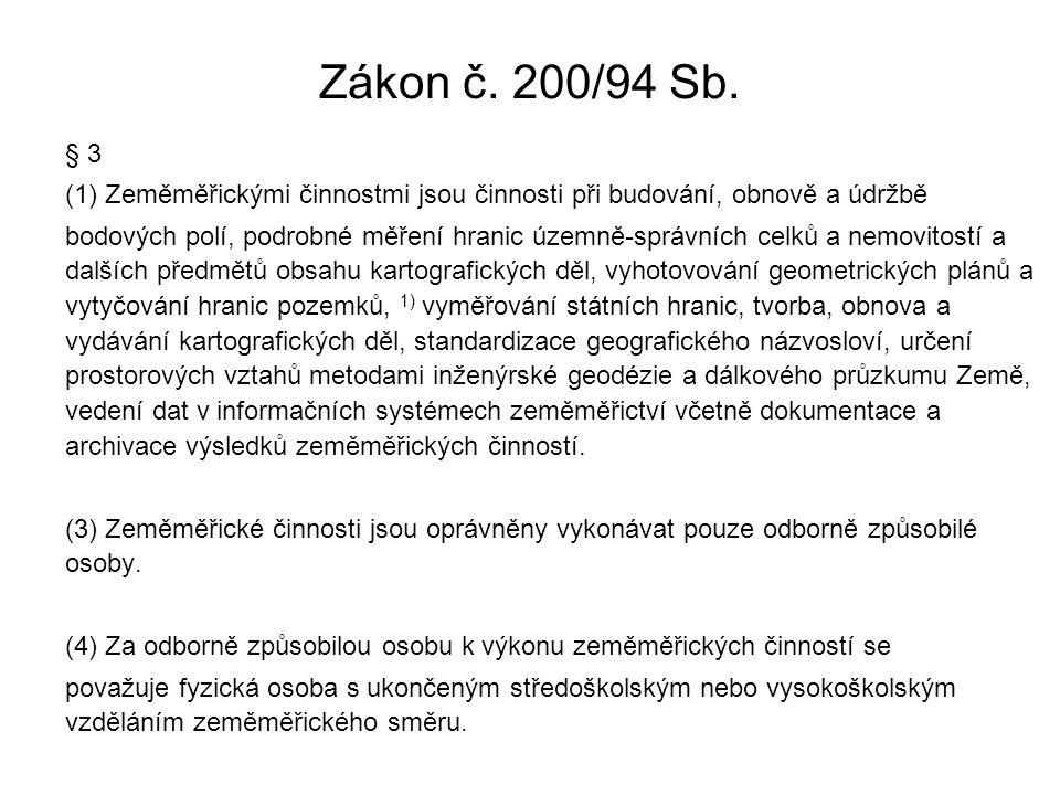 Zákon č. 200/94 Sb. § 3 (1) Zeměměřickými činnostmi jsou činnosti při budování, obnově a údržbě bodových polí, podrobné měření hranic územně-správních