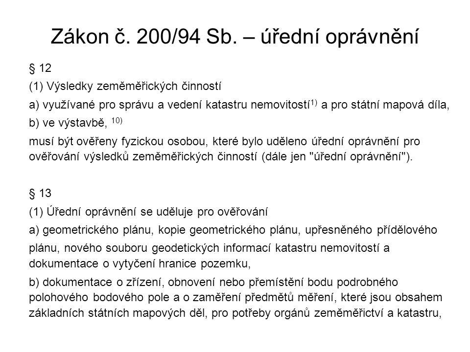 Zákon č. 200/94 Sb. – úřední oprávnění § 12 (1) Výsledky zeměměřických činností a) využívané pro správu a vedení katastru nemovitostí 1) a pro státní