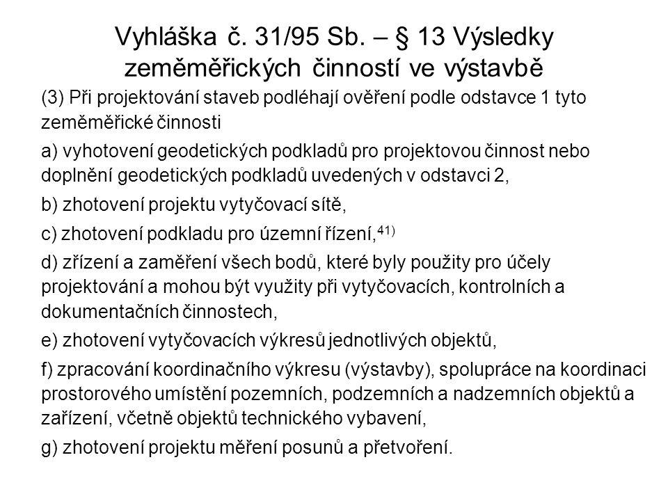 Vyhláška č. 31/95 Sb. – § 13 Výsledky zeměměřických činností ve výstavbě (3) Při projektování staveb podléhají ověření podle odstavce 1 tyto zeměměřic