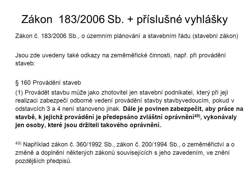 Zákon 183/2006 Sb. + příslušné vyhlášky Zákon č. 183/2006 Sb., o územním plánování a stavebním řádu (stavební zákon) Jsou zde uvedeny také odkazy na z