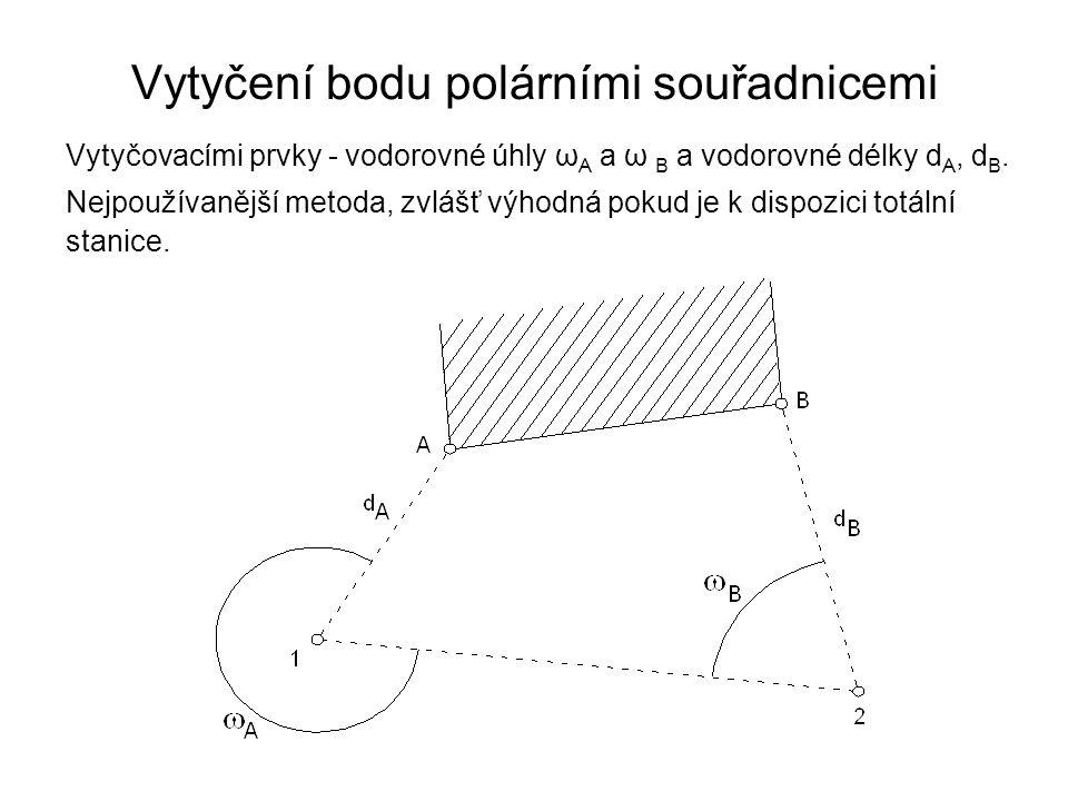 Vytyčení bodu polárními souřadnicemi Vytyčovacími prvky - vodorovné úhly ω A a ω B a vodorovné délky d A, d B. Nejpoužívanější metoda, zvlášť výhodná
