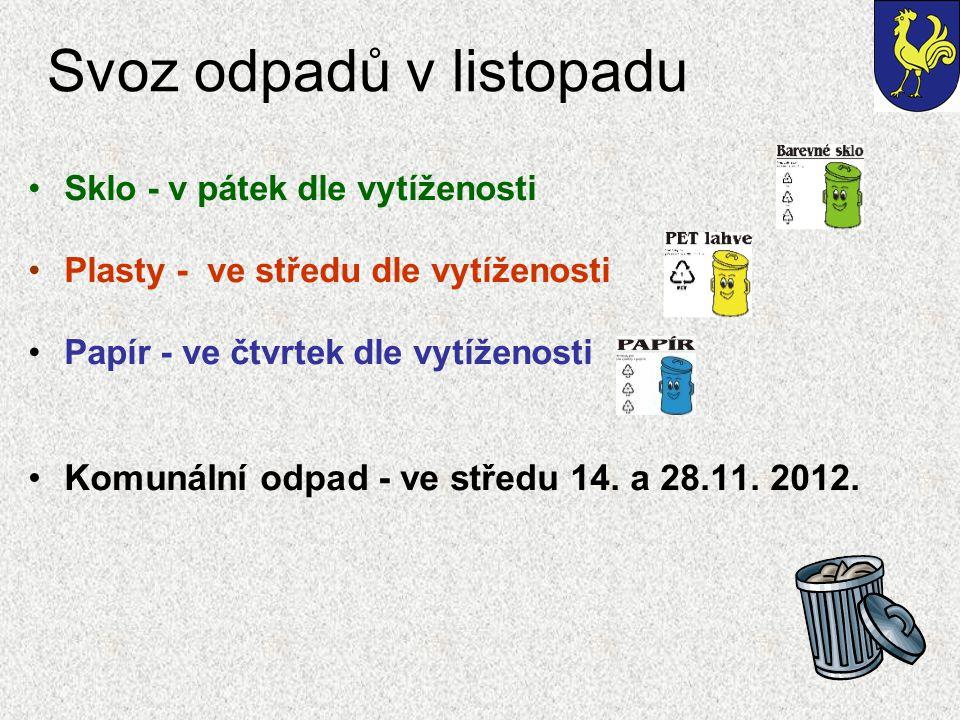 Svoz odpadů v listopadu Sklo - v pátek dle vytíženosti Plasty - ve středu dle vytíženosti Papír - ve čtvrtek dle vytíženosti Komunální odpad - ve středu 14.
