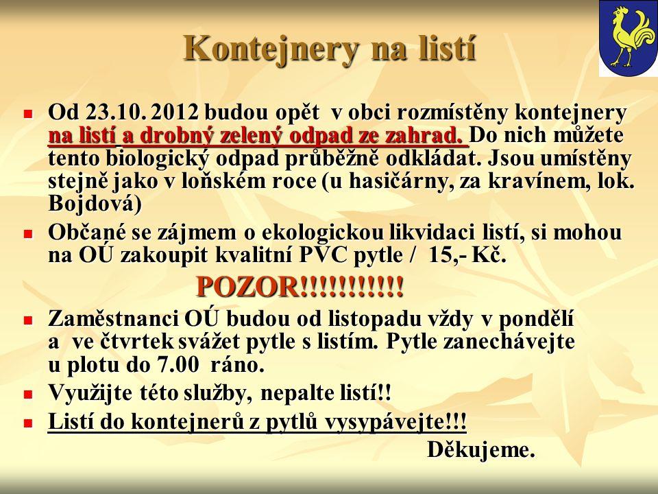 Kontejnery na listí Od 23.10.