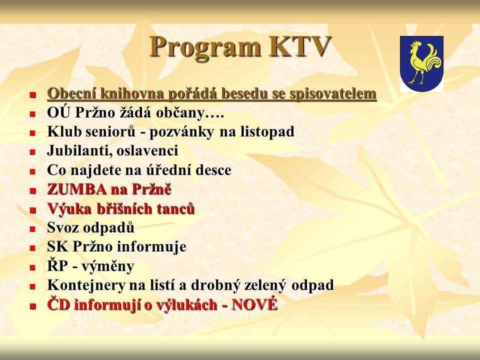 Program KTV Obecní knihovna pořádá besedu se spisovatelem Obecní knihovna pořádá besedu se spisovatelem OÚ Pržno žádá občany….