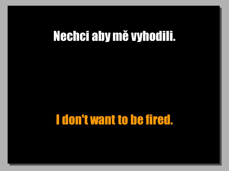 Nechci aby mě vyhodili. I don t want to be fired.