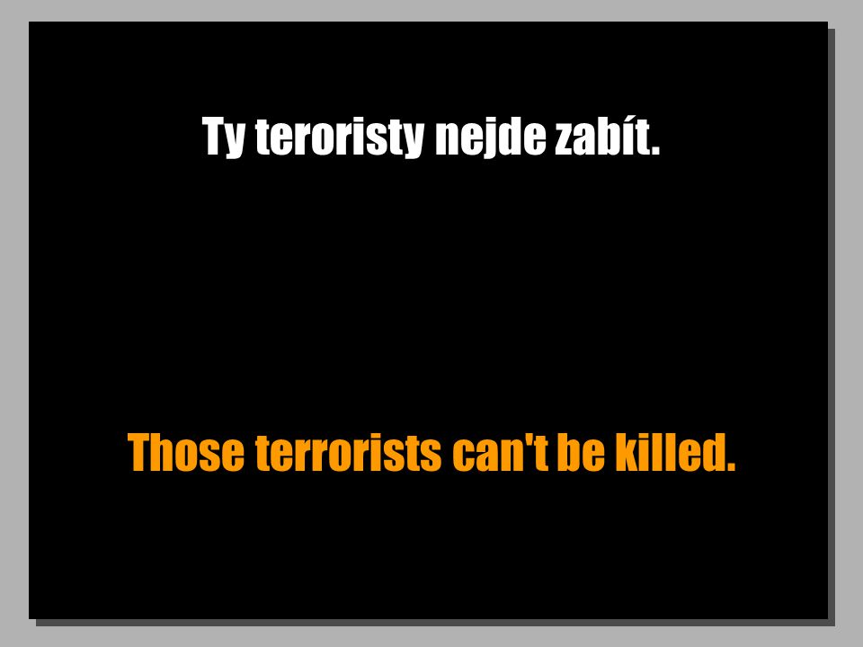Ty teroristy nejde zabít. Those terrorists can t be killed.