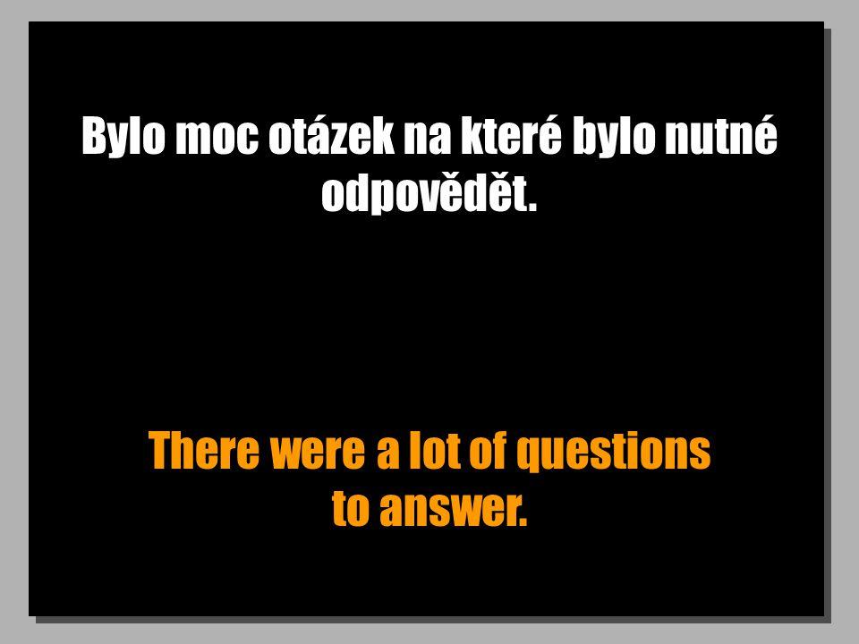 Bylo moc otázek na které bylo nutné odpovědět. There were a lot of questions to answer.