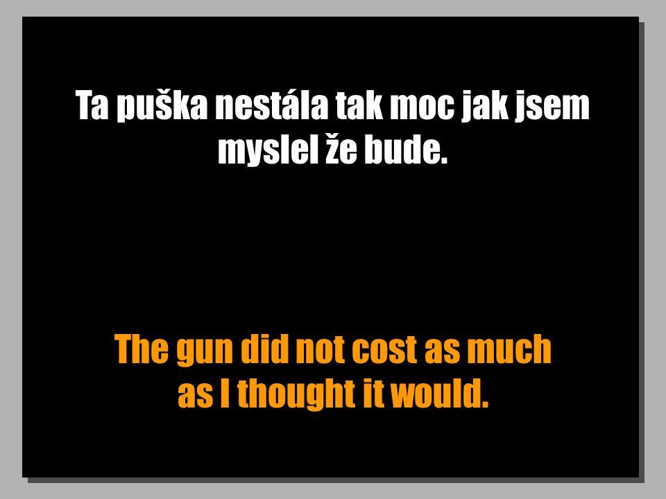 Ta puška nestála tak moc jak jsem myslel že bude.
