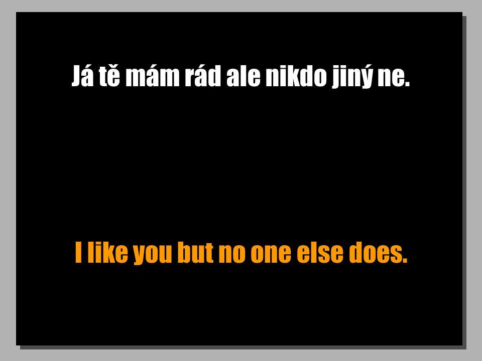 Já tě mám rád ale nikdo jiný ne. I like you but no one else does.