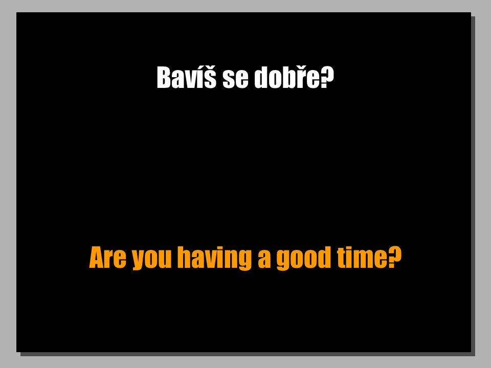 Bavíš se dobře? Are you having a good time?