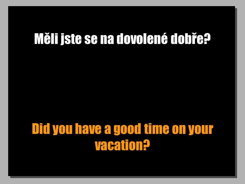 Měli jste se na dovolené dobře Did you have a good time on your vacation