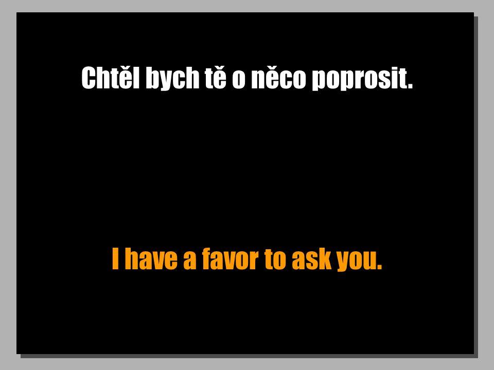 Chtěl bych tě o něco poprosit. I have a favor to ask you.