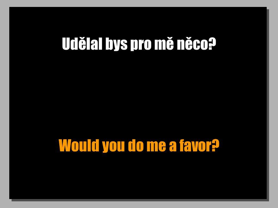 Udělal bys pro mě něco Would you do me a favor