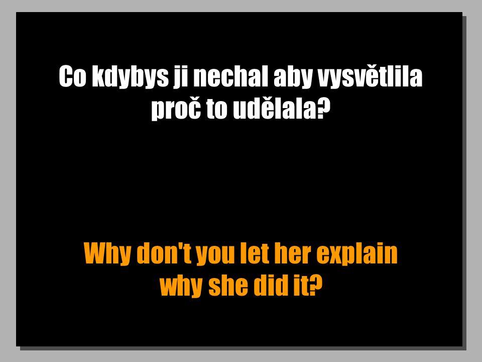 Co kdybys ji nechal aby vysvětlila proč to udělala Why don t you let her explain why she did it