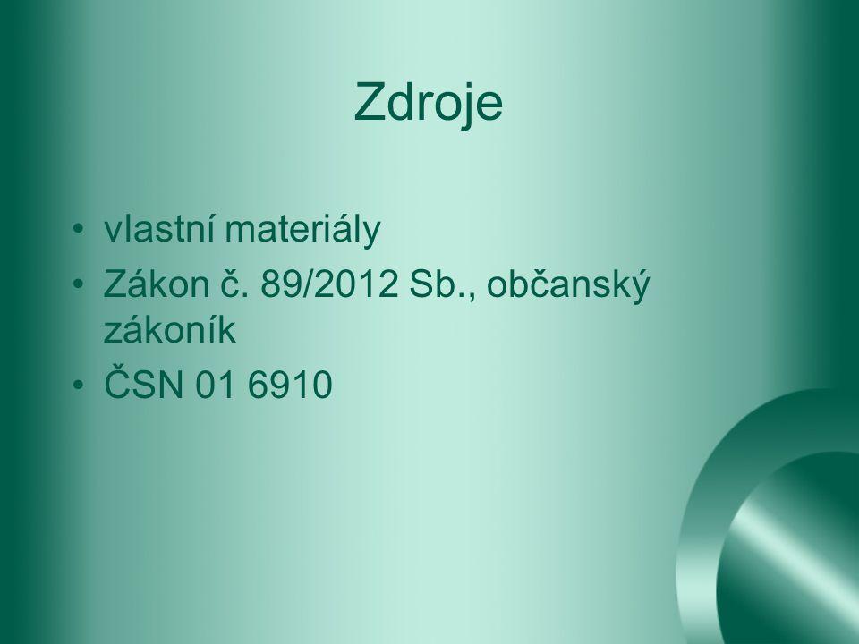 Zdroje vlastní materiály Zákon č. 89/2012 Sb., občanský zákoník ČSN 01 6910