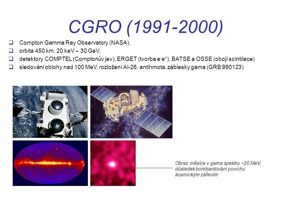 CGRO (1991-2000)  Compton Gamma Ray Observatory (NASA),  orbita 450 km, 20 keV – 30 GeV,  detektory COMPTEL (Comptonův jev), ERGET (tvorba e - e + ), BATSE a OSSE (obojí scintilace)  sledování oblohy nad 100 MeV, rozložení Al-26, antihmota, záblesky gama (GRB 990123) Obraz měsíce v gama spektru >20 MeV, důsledek bombardování povrchu kosmickým zářením