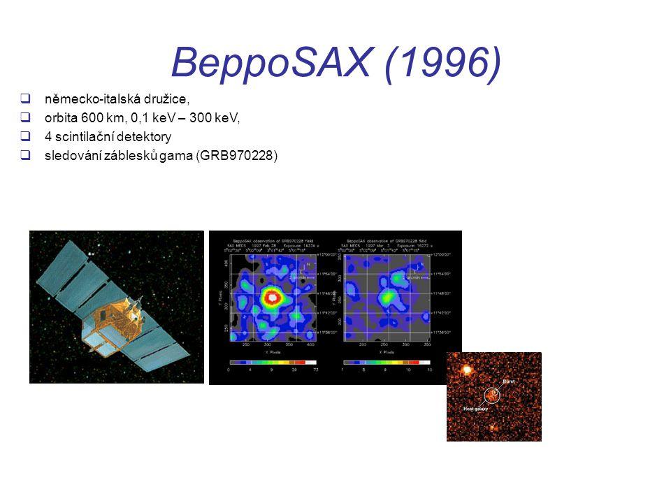 BeppoSAX (1996)  německo-italská družice,  orbita 600 km, 0,1 keV – 300 keV,  4 scintilační detektory  sledování záblesků gama (GRB970228)