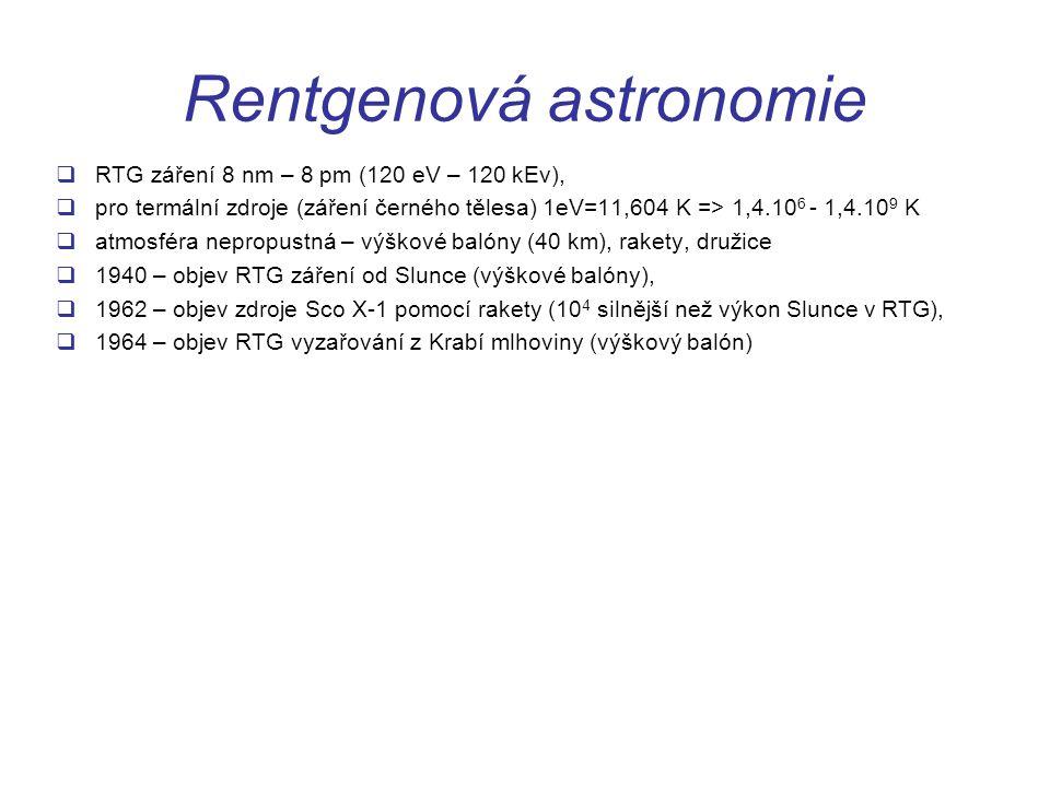 Rentgenová astronomie  RTG záření 8 nm – 8 pm (120 eV – 120 kEv),  pro termální zdroje (záření černého tělesa) 1eV=11,604 K => 1,4.10 6 - 1,4.10 9 K  atmosféra nepropustná – výškové balóny (40 km), rakety, družice  1940 – objev RTG záření od Slunce (výškové balóny),  1962 – objev zdroje Sco X-1 pomocí rakety (10 4 silnější než výkon Slunce v RTG),  1964 – objev RTG vyzařování z Krabí mlhoviny (výškový balón)