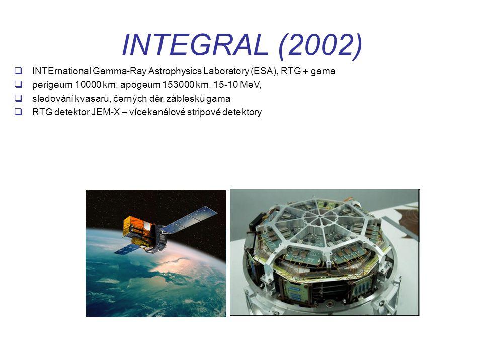 INTEGRAL (2002)  INTErnational Gamma-Ray Astrophysics Laboratory (ESA), RTG + gama  perigeum 10000 km, apogeum 153000 km, 15-10 MeV,  sledování kvasarů, černých děr, záblesků gama  RTG detektor JEM-X – vícekanálové stripové detektory