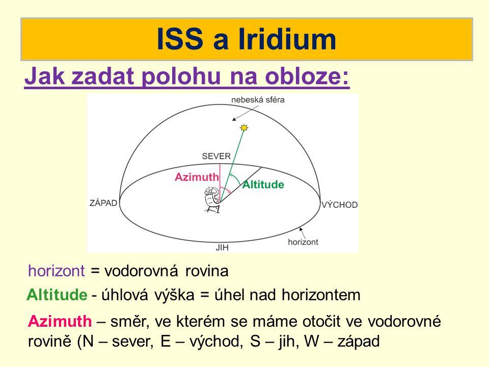 ISS a Iridium Altitude - úhlová výška = úhel nad horizontem Azimuth – směr, ve kterém se máme otočit ve vodorovné rovině (N – sever, E – východ, S – j