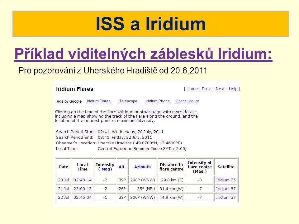 ISS a Iridium Příklad viditelných záblesků Iridium: Pro pozorování z Uherského Hradiště od 20.6.2011