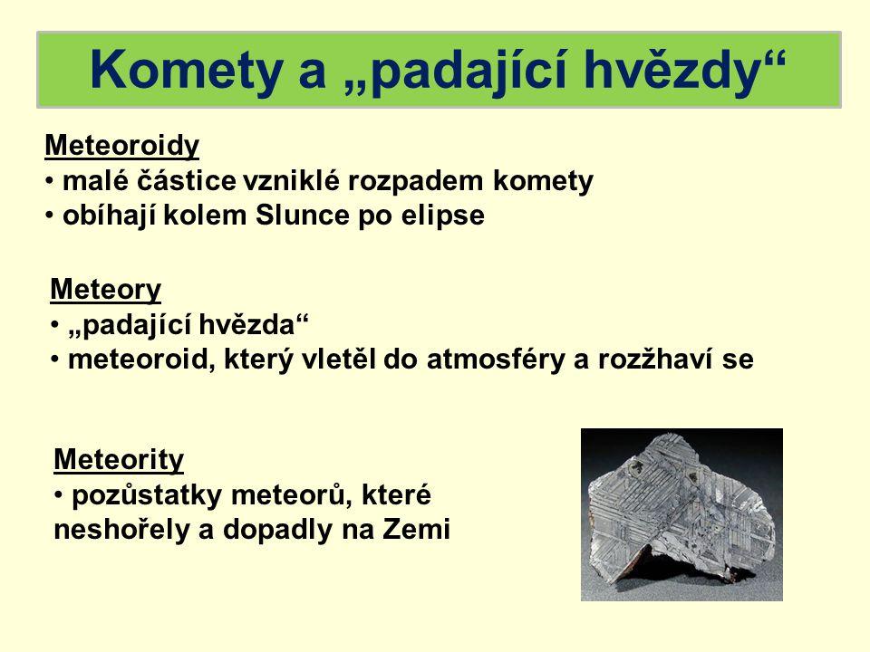 """Komety a """"padající hvězdy"""" Meteoroidy malé částice vzniklé rozpadem komety obíhají kolem Slunce po elipse Meteory """"padající hvězda"""" meteoroid, který v"""