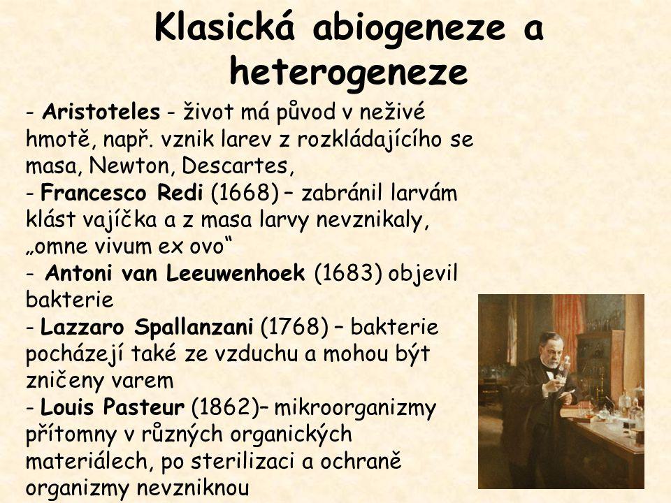 Klasická abiogeneze a heterogeneze - Aristoteles - život má původ v neživé hmotě, např. vznik larev z rozkládajícího se masa, Newton, Descartes, - Fra