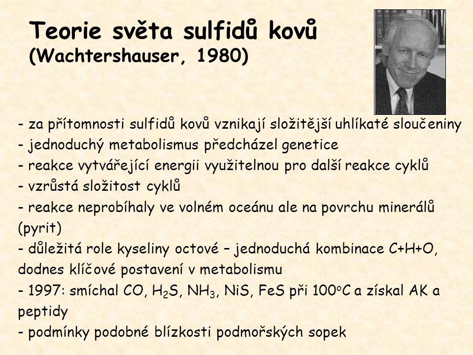 Teorie světa sulfidů kovů (Wachtershauser, 1980) - za přítomnosti sulfidů kovů vznikají složitější uhlíkaté sloučeniny - jednoduchý metabolismus předc