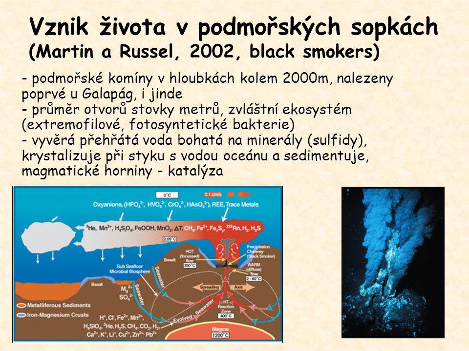 Vznik života v podmořských sopkách (Martin a Russel, 2002, black smokers) - podmořské komíny v hloubkách kolem 2000m, nalezeny poprvé u Galapág, i jin