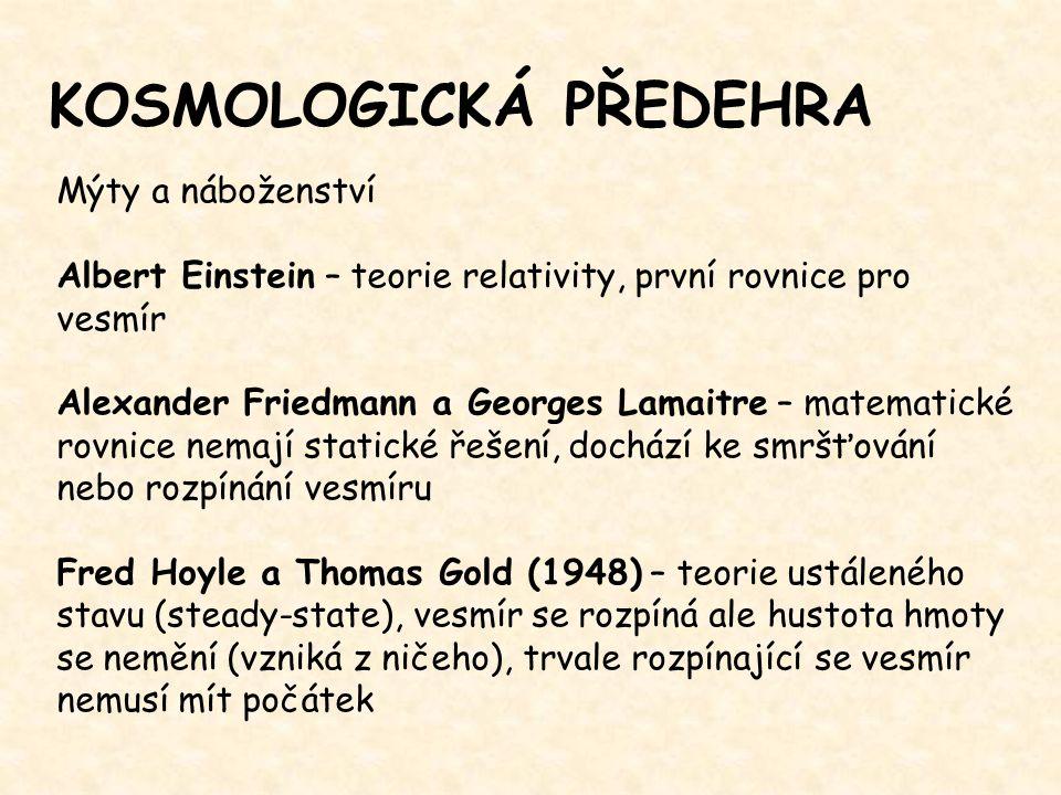 KOSMOLOGICKÁ PŘEDEHRA Mýty a náboženství Albert Einstein – teorie relativity, první rovnice pro vesmír Alexander Friedmann a Georges Lamaitre – matema