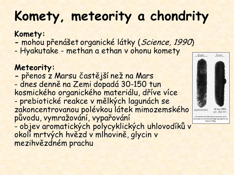 Komety, meteority a chondrity Komety: - mohou přenášet organické látky (Science, 1990) - Hyakutake - methan a ethan v ohonu komety Meteority: - přenos