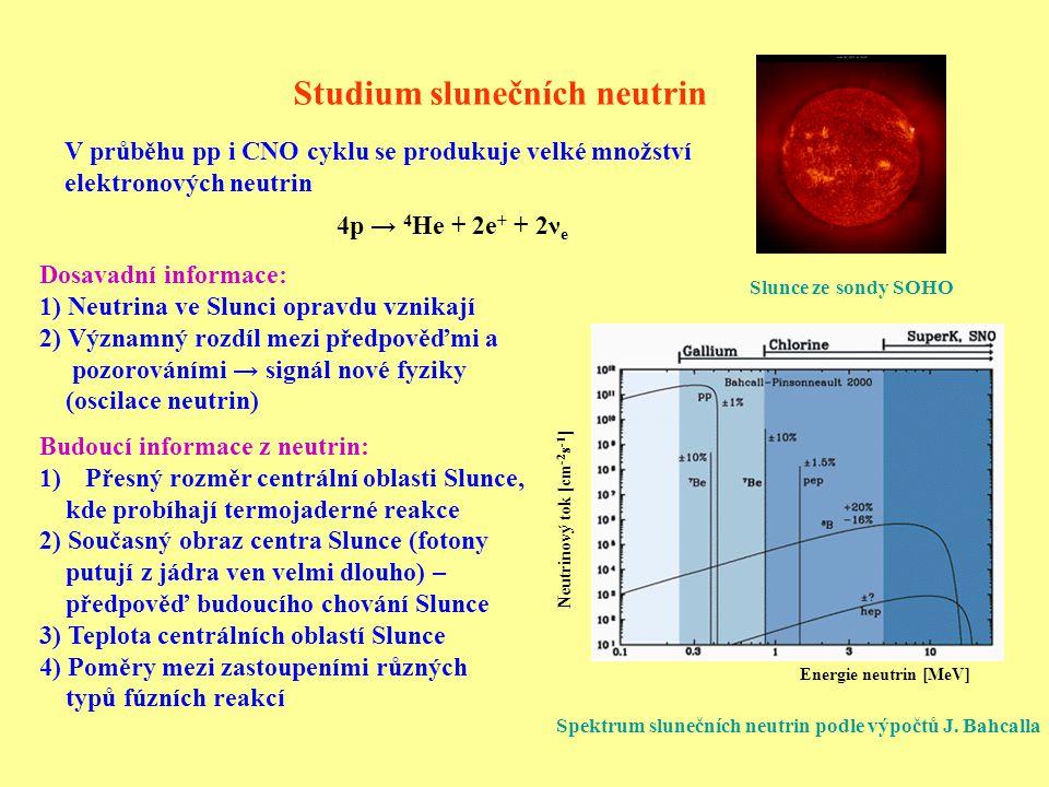 Studium neutrin ze supernov Konečné stádium hmotné hvězdy – kolaps a výbuch supernovy Velká část energie se uvolní ve formě neutrin ve dvou fázích: 1) Počátek – při vzniku neutronů elektronovým záchytem pouze elektronová neutrina: p + e - → n + ν e 2) Všechny druhy neutrin a antineutrin se statistickým zastoupením (1/6 na jeden typ) se střední energií 10 – 15 MeV.