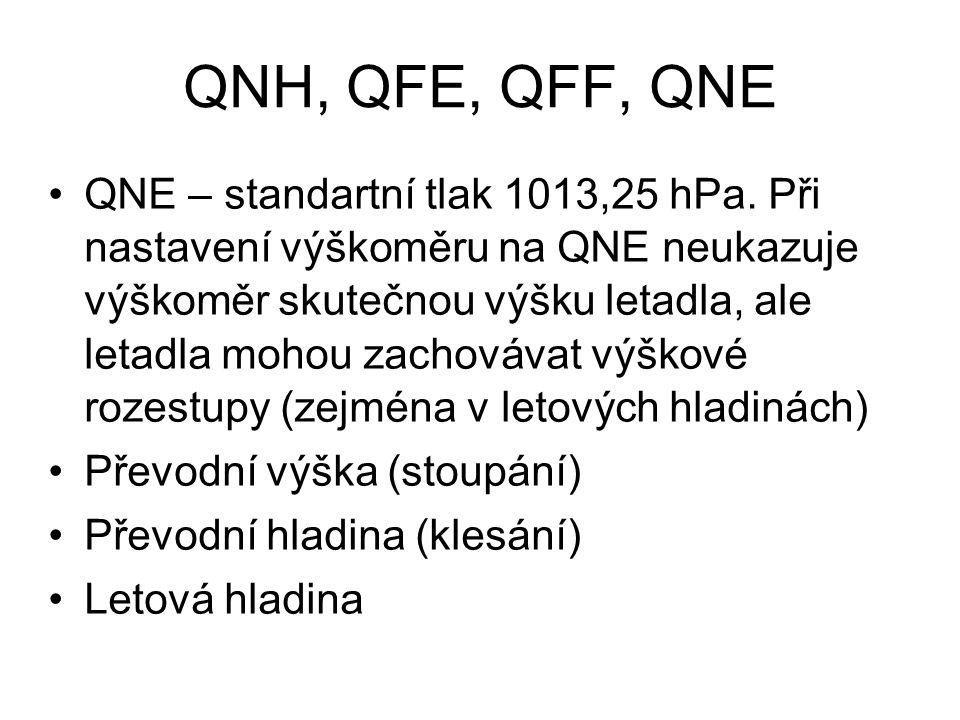 QNH, QFE, QFF, QNE QNE – standartní tlak 1013,25 hPa. Při nastavení výškoměru na QNE neukazuje výškoměr skutečnou výšku letadla, ale letadla mohou zac