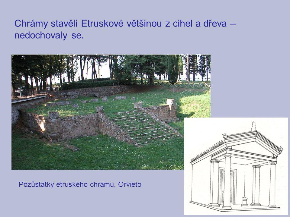 Chrámy stavěli Etruskové většinou z cihel a dřeva – nedochovaly se. Pozůstatky etruského chrámu, Orvieto