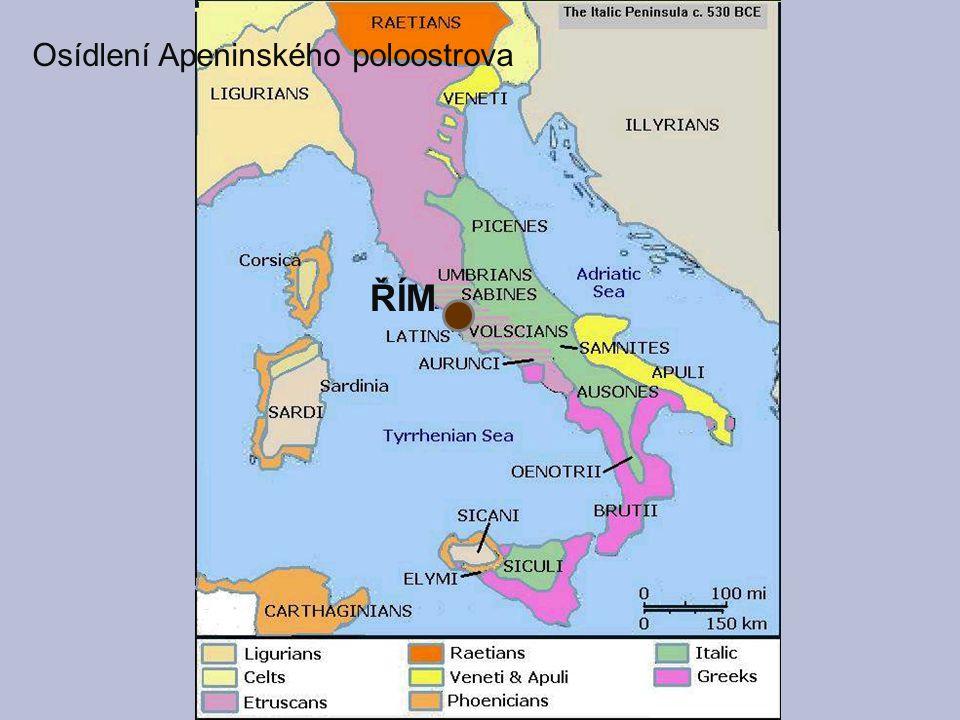 ŘÍM Osídlení Apeninského poloostrova