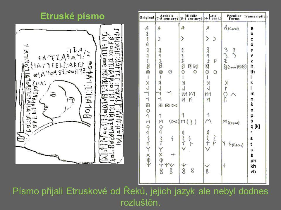 Etruské písmo Písmo přijali Etruskové od Řeků, jejich jazyk ale nebyl dodnes rozluštěn.