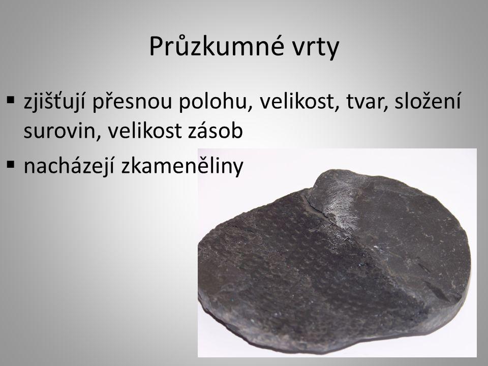 Průzkumné vrty  zjišťují přesnou polohu, velikost, tvar, složení surovin, velikost zásob  nacházejí zkameněliny