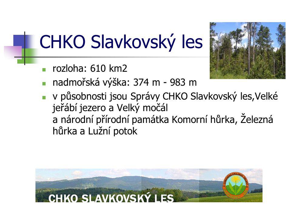 CHKO Slavkovský les rozloha: 610 km2 nadmořská výška: 374 m - 983 m v působnosti jsou Správy CHKO Slavkovský les,Velké jeřábí jezero a Velký močál a n
