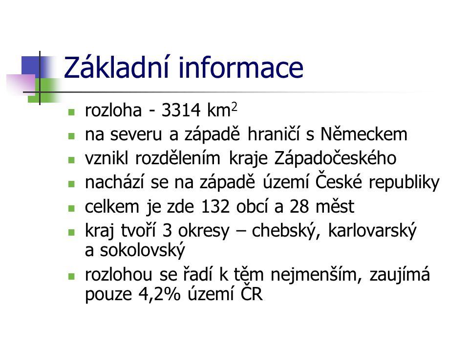 Základní informace rozloha - 3314 km 2 na severu a západě hraničí s Německem vznikl rozdělením kraje Západočeského nachází se na západě území České re