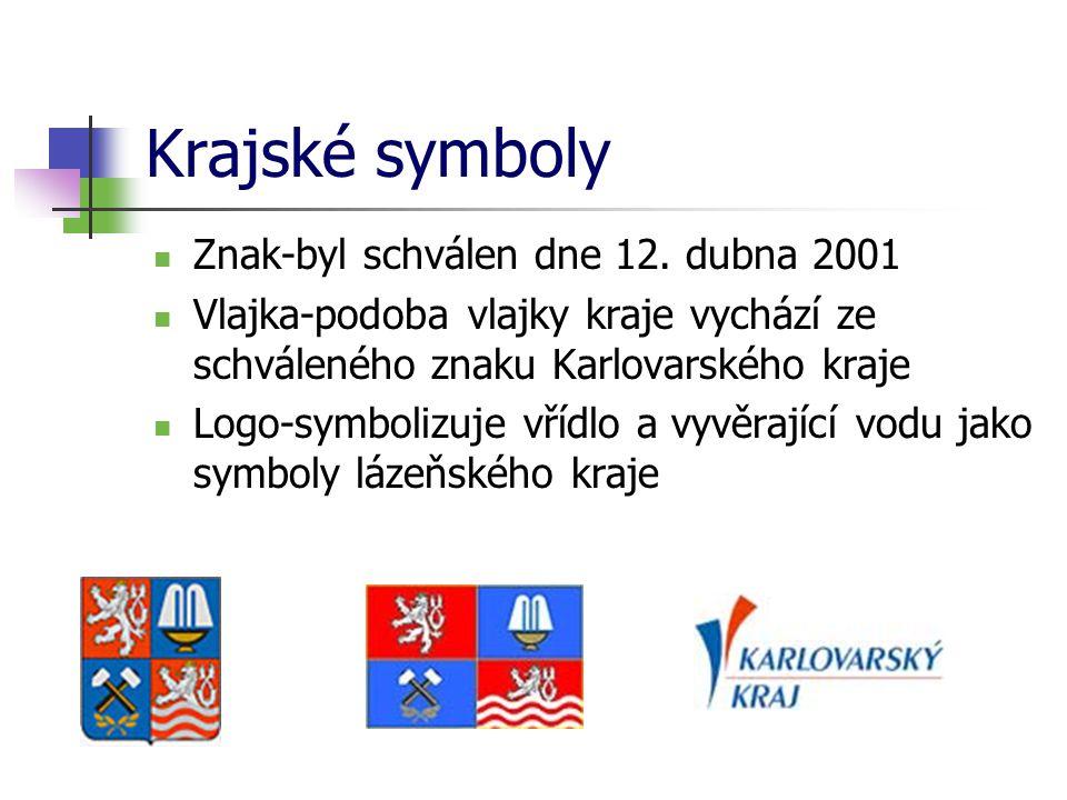 Krajské symboly Znak-byl schválen dne 12. dubna 2001 Vlajka-podoba vlajky kraje vychází ze schváleného znaku Karlovarského kraje Logo-symbolizuje vříd