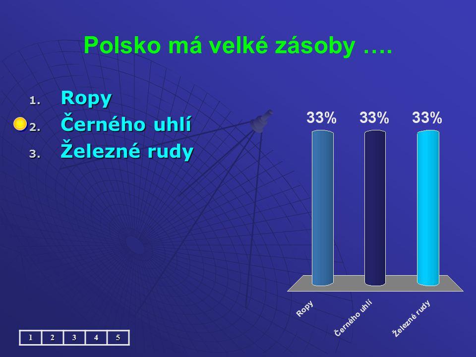 Polsko má velké zásoby …. 1. Ropy 2. Černého uhlí 3. Železné rudy 12345