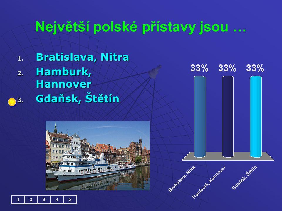 Největší polské přístavy jsou … 1. Bratislava, Nitra 2. Hamburk, Hannover 3. Gdaňsk, Štětín 12345