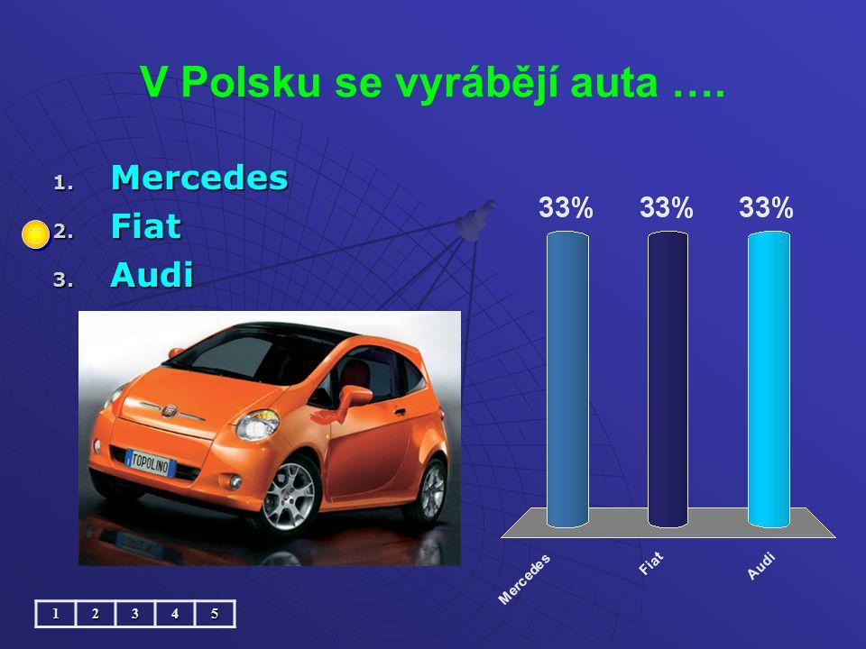 V Polsku se vyrábějí auta …. 1. Mercedes 2. Fiat 3. Audi 12345