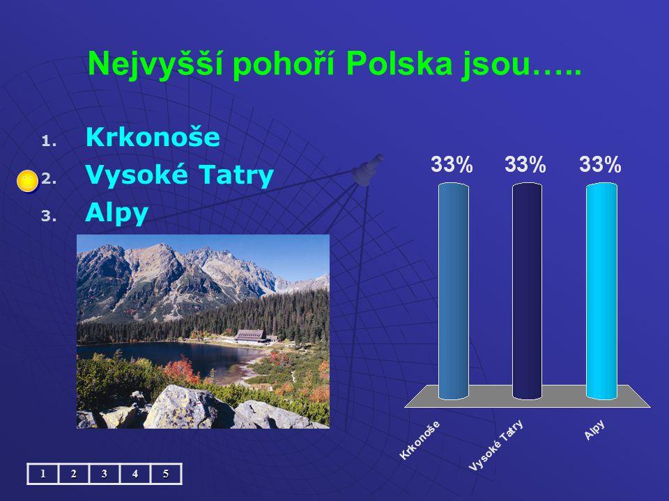 Nejvyšší pohoří Polska jsou….. 1. 1. Krkonoše 2. 2. Vysoké Tatry 3. 3. Alpy12345